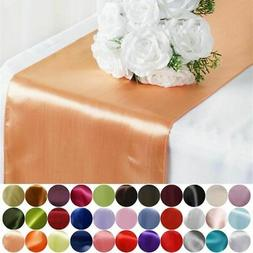 """12"""" x 108"""" Satin Table Top Runner Wedding Party Catering Rec"""