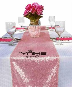 Shinybeauty 12X108-Inch Sequin Table Runner Pink Gold 10 Pie
