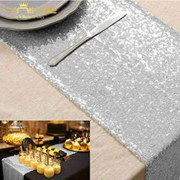 Shinybeauty 12X108-Inch Sequin Table Runner Silver 10 Pieces
