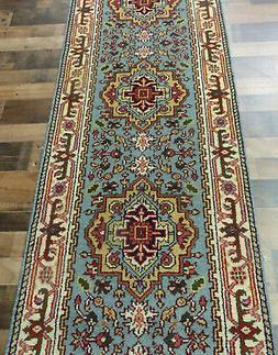"2'7""x10' New Hand knotted Wool super Serapi Herizz Blue Orie"
