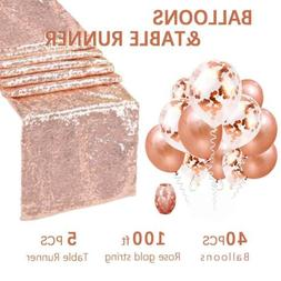 """5 Piece Rose Gold Sparkly Table Runner 12""""x108"""" Shimmer Tabl"""