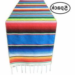 5 Table Runners Packs 14x108 Inch Mexican Serape With Tassel