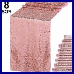 "8 PC Sequin Table Runner Glitter Sparkly 12 By 108"" For Wedd"