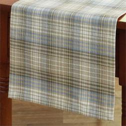 Country Prairie Wood Table Runner 13x36 Taupe Blue Cream Pla