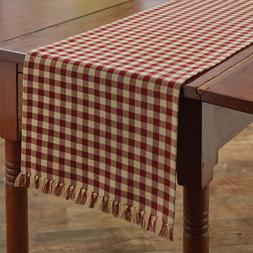 """Park Designs Country Red & Tan Check 13""""x36"""" Table Runner -"""