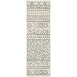 Adirondack Ivory and Silver Area Rug, Runner 2'6 x 8'