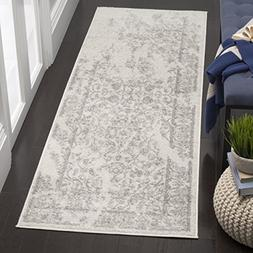 Adirondack Ivory and Silver Area Rug, Runner 2'6 x 6'