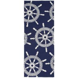 "AREA RUGS - ""CAPTAINS WHEEL"" INDOOR OUTDOOR RUG - 24"" x 60"""