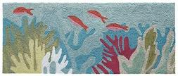 "AREA RUGS - ""OCEAN LIFE"" TROPICAL REEF INDOOR OUTDOOR RUG -"