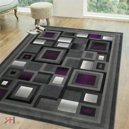 Area Rugs Purple and Gray Abstract Geometric Modern Squares