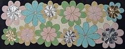 Light & Pro Beaded Table Runner in Leaf Design Blue Green Nu
