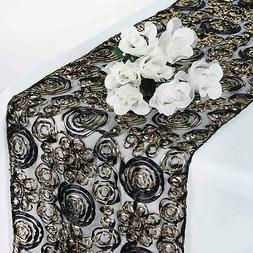 """Black Gold 12x108"""" RIBBON FLOWERS on LACE TABLE RUNNER Fancy"""