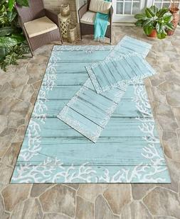 COASTAL Outdoor Printed Rugs Coral Reef Wood Plank Accent Ru