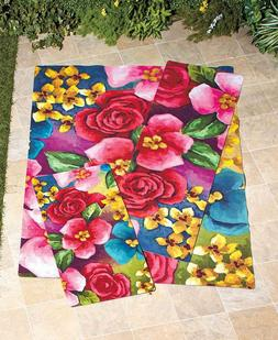 Bright Floral Garden Print on Outdoor Rugs Add Beauty to Pat