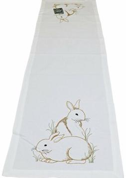 C&F Home Bunny Rabbit Cotton Embroidered Table Runner 14x51