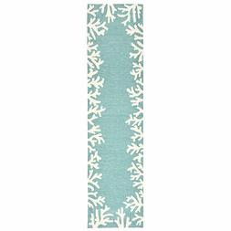 "Liora Manne Capri Coral Border Indoor/Outdoor Rug Aqua 24""X8"