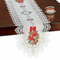 Collections Etc Cardinals Lace Table Topper RUNNER