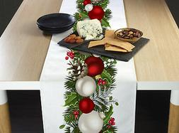 "Christmas Garland Border Table Runners - 12"" x 72"" or 14"" x"