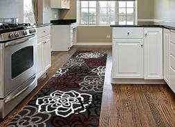 Rugshop Contemporary Modern Floral Flowers Area Rug Runner,