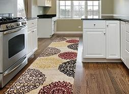 Rugshop Contemporary Modern Floral Indoor Soft Area Rug Runn
