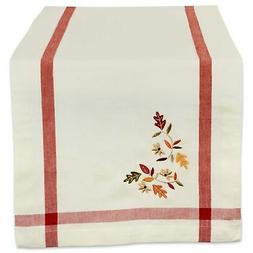 """DII 14x108"""" Cotton Table Runner, Cream with Embroidered Fall"""