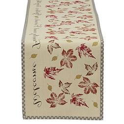 """DII 14x72"""" Cotton Table Runner, Rustic Leaves - Perfect for"""
