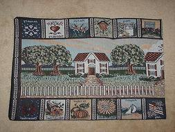 COUNTRY HOME HEARTH MONTHLY CALENDAR TAPESTRY TABLE RUNNER 1