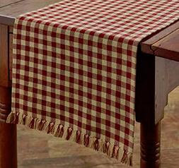 "Park Designs Country Red & Tan Check 13""x54"" Table Runner -"