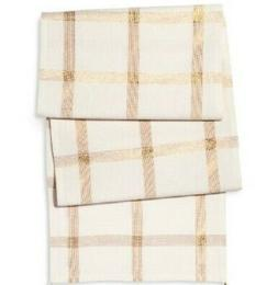 Threshold Cream / Gold Plaid Table Runner   Great for Holida