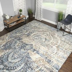 Distressed Medallion Non-Slip Area Rug or Runner by Blue Nil