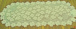 Dogwood 14x33 Ecru Lace Table Runner Heritage Lace
