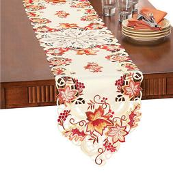 Collections Etc Elegant Fall Leaves Table Linens RUNNER