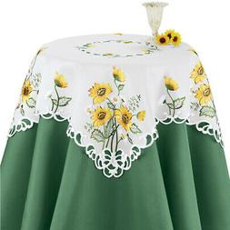 Elegant Table Runner / Topper with Embroidered Sunflowers