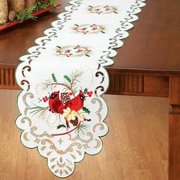 Collections Etc Embroidered Cardinal & Holly Table Linens RU