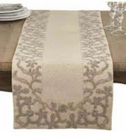 Embroidered Floral Scroll Table Runner Saro Lifestyle Tan Na