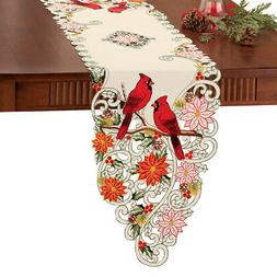 Collections Etc Embroidered Holiday Cardinal Poinsettia Tabl