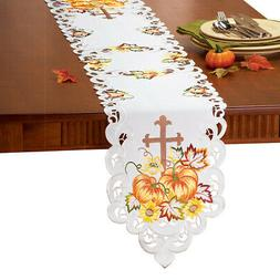 Collections Etc Embroidered Pumpkin and Cross Table Linens R