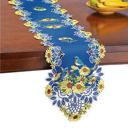 Embroidered Sunflowers Table Runner / Topper with Blue Birds