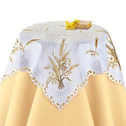 Embroidered Wheat Table Runner / Topper with Scroll Cutout E