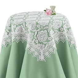 Exquisite Rose Lace Table Runner or Topper with Scalloped Ed