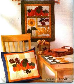 FALL HARVEST SAMPLR WALL HANGING PILLOW TABLE RUNNER SEWING