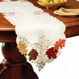 Collections Etc. Fall Table Linens with Colorful, Embroidere