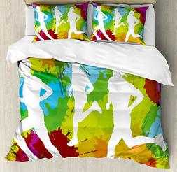 Fitness Duvet Cover Set with Pillow Shams Runners in Waterco