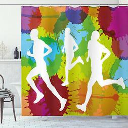 Fitness Shower Curtain Runners in Watercolors Print for Bath