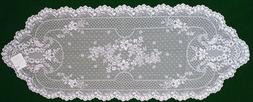 Floret 14x38 White Lace Table Runner Heritage Lace