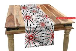Ambesonne Geometric Table Runner, Trippy Flower With Shapes