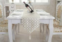 Gold Chenille Circular Pattern Formal Table Runners for Home