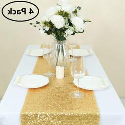 GFCC Gold Sequin Table Runners - 12x72inch 4PCS Glitter Gold