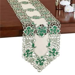 Grapevine Table Runner / Topper with Embroidered Green Leave