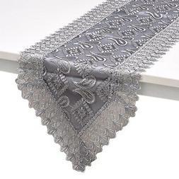 gray silver paisley pattern polyester lace decoration
